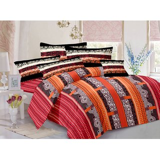 ValtellinaCotton Traditional Blue Double Bedsheet with 2 Contrast Pillow Covers(TC-129)