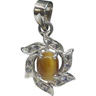 Aldomin Tiger Eye With Small Zircon .925 Sterling Silver Pendant