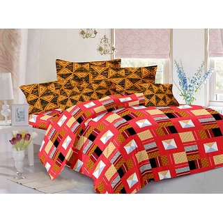 ValtellinaCotton Traditional Multi Double Bedsheet with 2 Contrast Pillow Covers(TC-129)