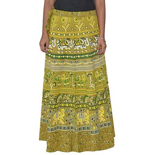 Sunshine Jaipuri Printed Women's Multicolor Long Wrap Around Skirts-0339