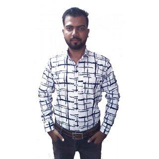 White Check Print Shirt