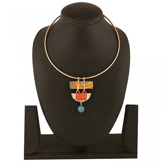 Gold Plated Alloy Necklace Choker With Multi Color Natural Stone