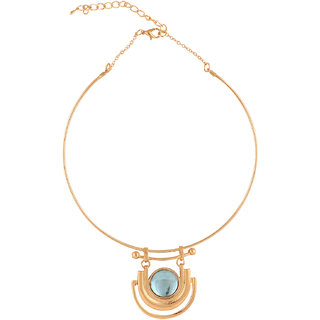 Gold Plated Necklace Choker With Turquoise Stone
