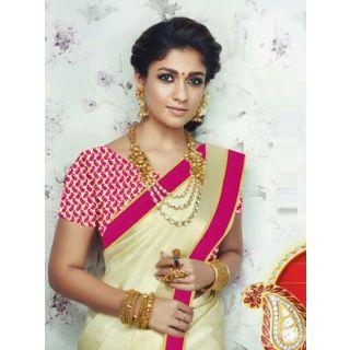 Style Amaze Present Designer Beige  Pink Saree (Unstitched)