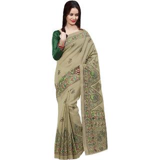 Sareemall Beige Art Silk Printed Saree With Blouse