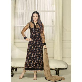 Style Amaze Present Designer Black  Beige Dress Material (Unstitched)