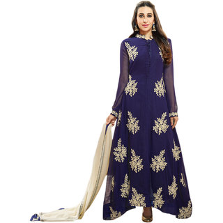 Style Amaze Present Designer Blue Dress Material (Unstitched)