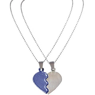 Men Style 2016 New ColourFull Couples Brokenheart Love  Blue And Silver  Stainless Steel Heart Pendent For Men And Women
