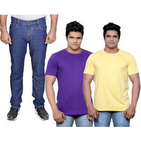 Indistar Men's Combo Pack Offer 1 Ragular Fit Denim Jeans with 2 Cotton Round Neck Half Sleeve T-Shirt (Size-M)