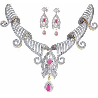 Rejewel American Diamond 22K Gold Plated Necklace Set For Women