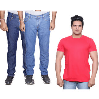 IndiWeaves Men's Combo Pack Offer 2 Ragular Fit Denim Jeans with 1 Cotton Round Neck Half Sleeve T-Shirt (Size-M)