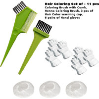 Indus Valley Hair Coloring Set- 11 Pcs, Coloring Brush With Comb, Henna Brush, 3 Pcs- Shower Cap, 6 Pairs- Hand Gloves