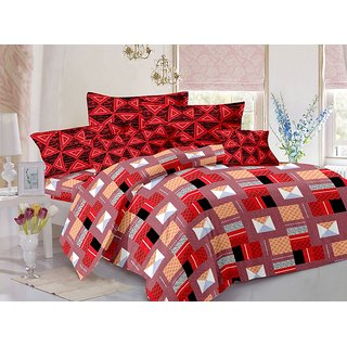 Valtellina Cotton Traditional Multi Double Bedsheet with 2 Contrast Pillow Covers(TC-129)