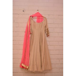 Style Amaze Designer Beige  Pink Gown Without Bottom
