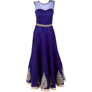 Style Amaze Blue Taffeta Embroidered Semi Stitched Gown