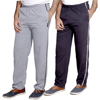Indistar Men'S Premium Cotton 1 Grey And 1 Grey Lower With 1 Zipper Pocket And 1 Open Pocket(Pack Of 2 Lowers)