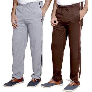Indistar MenS Premium Cotton 1 Grey And 1 Brown Lower With 1 Zipper Pocket And 1 Open Pocket(Pack Of 2 Lowers)
