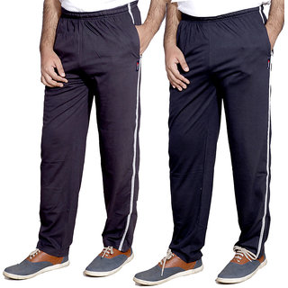 Indistar MenS Premium Cotton 1 Grey And 1 Blue Lower With 1 Zipper Pocket And 1 Open Pocket(Pack Of 2 Lowers)