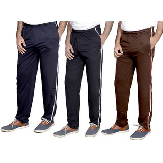 Indistar MenS Premium Cotton Lower With 1 Zipper Pocket And 1 Open Pocket Pack Of -3