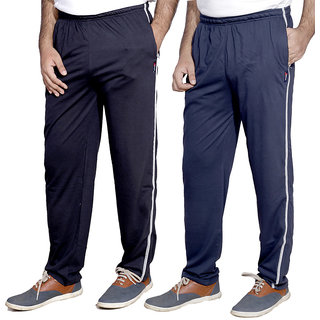 Indistar Men'S Premium Cotton 1 Blue And 1 Blue Lower With 1 Zipper Pocket And 1 Open Pocket(Pack Of 2 Lowers)