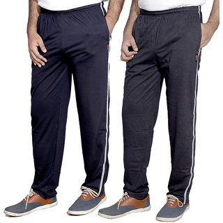 Indistar Men'S Premium Cotton 1 Blue And 1 Grey Lower With 1 Zipper Pocket And 1 Open Pocket(Pack Of 2 Lowers)