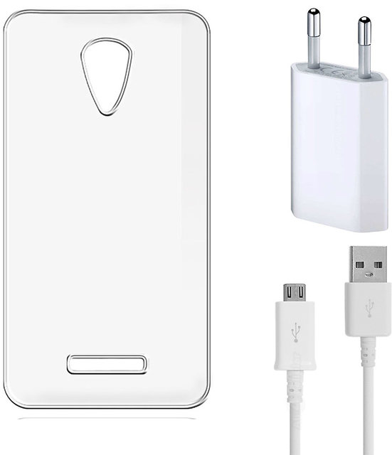 Soft Transparent Back Cover for Vivo Y11 with USB Travel Charger