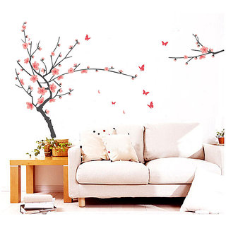 Walltola Grey Branch With Pink Flowers Wall Sticker (31X20 Inch)