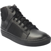 Genuine Leather High Top Black Sneaker With Breathable