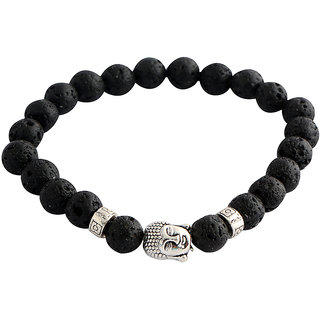 STRIPES Present Antique Silver Plated Buddha with Black Natural Lava Stone Beads