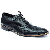 Ideal Shoes Black Brogue Genuine Leather Formal Shoes