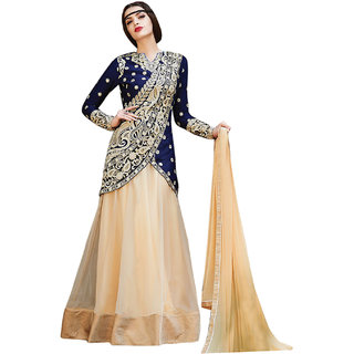 Surat Tex Cream  Blue Color Wedding Wear Semi-Stitched Embroidered Net Lehenga Choli With Heavy Designer Banglori Silk