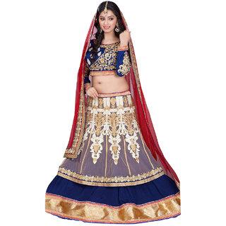 Surat Tex Blue Color Party Wear Semi-Stitched Embroidered Jacquard Lehenga Choli With Heavy Designer Dhupian  Satin Top