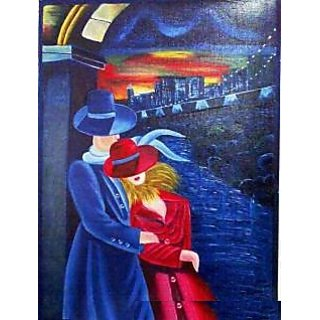Oil Painting Of Loving Couple