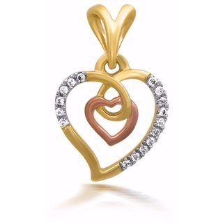 Heart To Heart Pendant 14k Gold with white Natural Diamonds