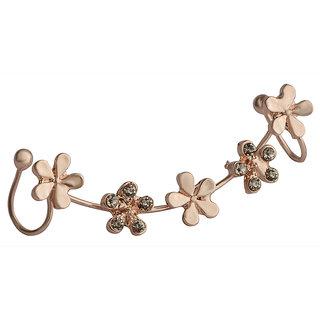 STRIPES Present Golden Flowers with crystal Fancy Party Wear Ear Cuff Earrings For Girls  Women (Single Piece )