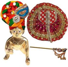 Janamashtami Special Brass Laddu Bal Gopal (5x5x6 cm) with Multicolor Poshak (13x13 cm), Colorful Metal Bansuri (6x1cm)