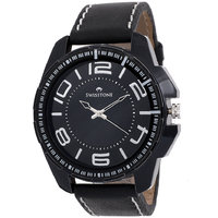 Swisstone GR023-BLK-BLK Black Dial Black Strap Analog Wrist Watch For Men/Boys