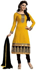 Beelee typs Yellow Cotton Unstitched Dress Material