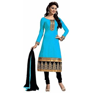 Beelee Typs Blue Cotton Unstitched Dress Material