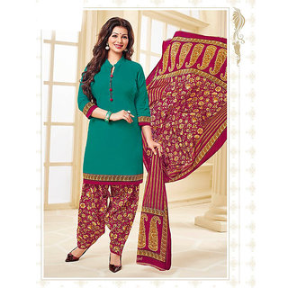 Nikki Fab Dark Green Cotton Unstitched Salwar Suit