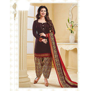 Nikki Fab Maroon Cotton Unstitched Salwar Suit