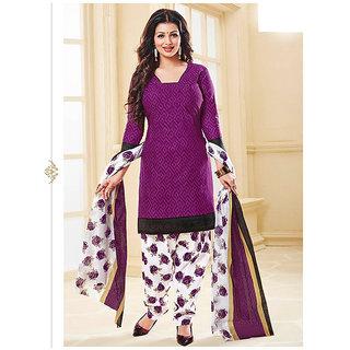 Nikki Fab Violet Cotton Unstitched Salwar Suit