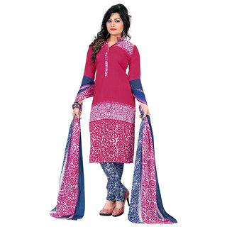 Khushali Presents Printed Crepe Dress Material (Pink,Navy Blue,White)