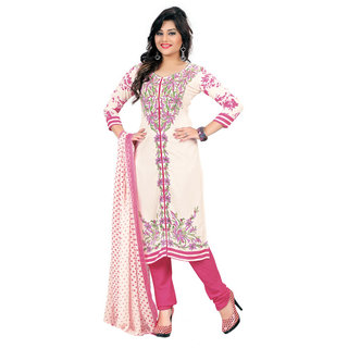 Khushali Presents Printed Crepe Dress Material (Off White,Pink)