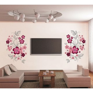 Walltola PVC Multicolor TV Background Floral Wall Sticker (59X35 Inch) (No  Of Pieces
