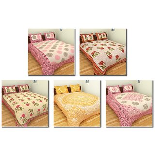 Combo of 5 Bedding Lots Cotton Double Beddings Sets