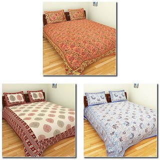 Combo of 3 Bedding Lots Cotton Double Beddings Sets