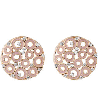 Jazz Jewellery With Light Pink Enamel Work and With CZ Stones Stud Earrings For Womens