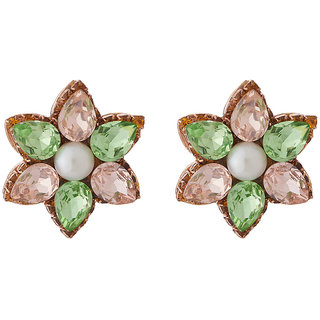 Jazz Jewellery Star Shape Beautiful With Light Green and Wine Ad Stones Stud Earrings For Womens