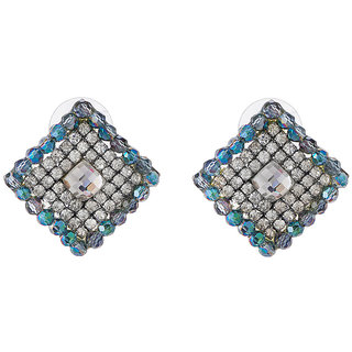 Jazz Jewellery Square Shape Multicolour Ad Stone and Crystal Stud Earrings For Womens